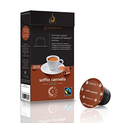 Gourmesso Soffio Canella (Zimt) - 10 Nespresso kompatible Kaffeekapseln - Fairtrade