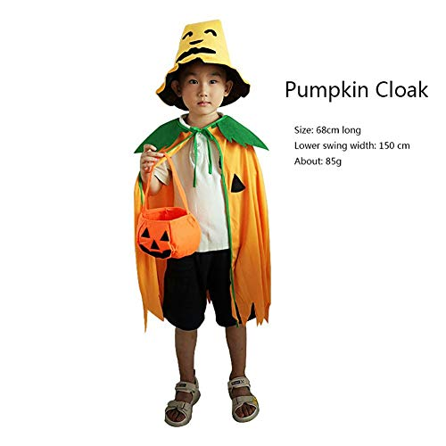 Forart Halloween Kostüm Cosplay Kürbis Mantel Mantel mit Hut Kürbis Beutel (Kürbis Kostüme Erwachsene)