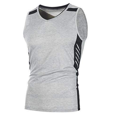 Tomatoa Herren Shirt Tank Top Herren Sport Gym Fitness Bodybuilding Tanktop Muscle Shirt Unterhemd Ärmellos Weste Tankshirt Sommer Basic Kurzarm Regular Fit T-Shirt M - XXXL -
