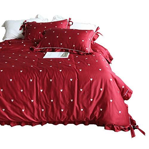Bettwäsche-Set für Doppelbetten, mit eleganter Stickerei, weich, bequem, Bettlaken, 2 Kissenbezüge, ägyptische Satin, Baumwolle, Rot, 4-teilig, King Size -