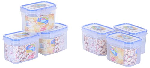 SKI Lock & Seal Rectangular Containers 1000 ML - Set of 6 Multipurpose Containers