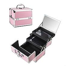 Amasava Kosmetikkofer Schminkkoffer Beauty Make-up Case aus ABS und Aluminium 2 verfügbare Ebene,mit Spiegel und Klappschloss 24cm x 17 cm x 19cm 1.58kg Rosa