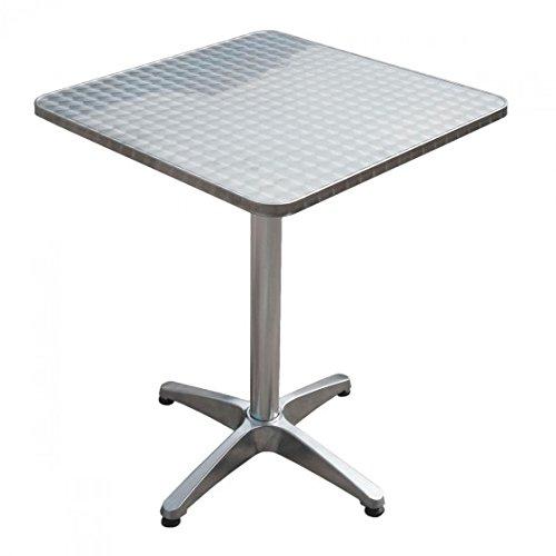 nxtbuy Bistrotisch 70 cm in Silber - Bartisch mit quadratischer, klappbarer 60 x 60 cm Edelstahl Tischplatte - Gartentisch mit Tischbein aus Aluminium (Silber Bar Tisch Metall)