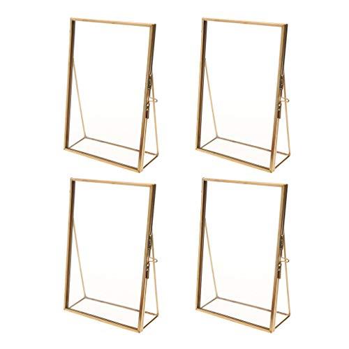 B Blesiya 4pcs Nautischer Stil Glas Bilderrahmen Deko Fotorahmen Dekorahmen Tischdeko zum Aufstellen