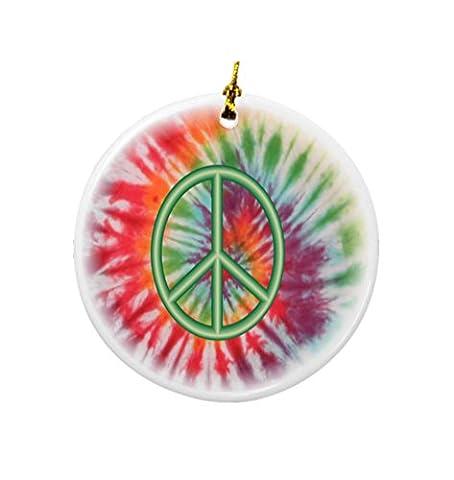 Rikki Knight Green Peace Sign on Tie Dye Design Round