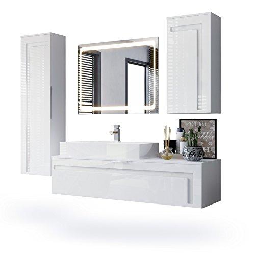 Vladon Badmöbel Komplettset Aloha, Korpus in Weiß Matt/Fronten in Weiß Hochglanz mit Absetzungen in Weiß Hochglanz, mit Aufsatzwaschbecken und LED Spiegel -