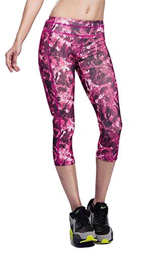 GoodNight Stampa di pantaloni di alta qualità Capri Yoga Rosa rossa