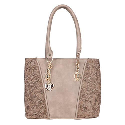 Butterflies Women Handbag (Mud Beige) (BNS 0664MDBG)