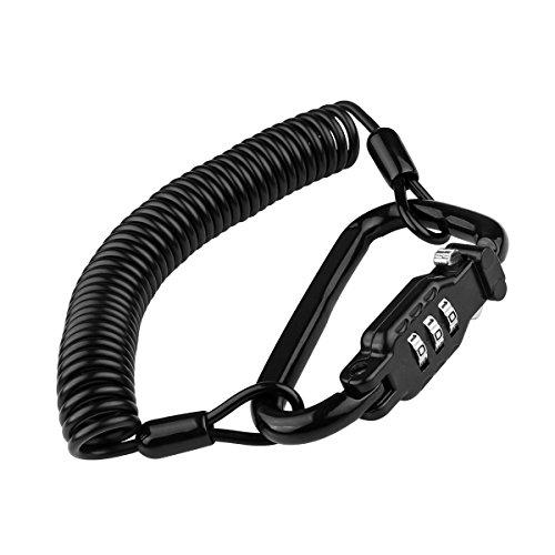 Lock Helm Lock tragbar leicht Fahrrad Motorrad Zahlenschloss mit Elastic Kabel Diebstahlschutz 3zurücksetzbar Ziffern