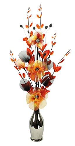 Flourish LN cromo Flores Artificiales en jarrón, Naranja, 80cm