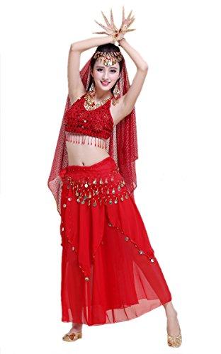 Honeystore 2017 Neuheiten Damen Indien Belly Dance Latein Dance 7PC Kleid mit Pailletten Rot (60's Kostümverleih)