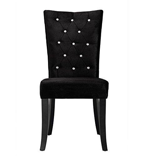 Radiance Velvet Dining Chairs Set of 2 (Black, Crushed Velvet)