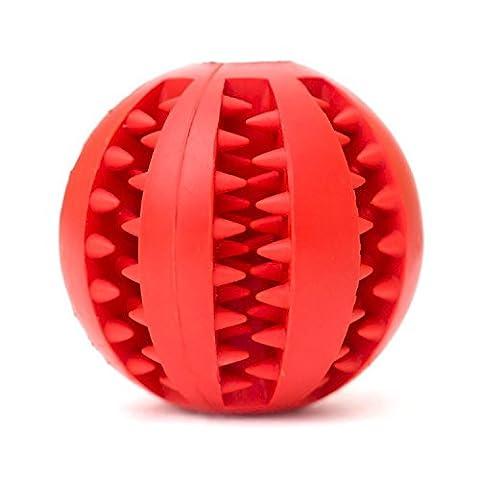Newnet Balle jouet pour chien, boule de jouet résistant non toxique Bite pour chien chiot chat, nourriture pour chiens Treat Feeder dents animaux chien balle nettoyage des dents nettoyage Chew balle Pet Fictif Ballon d'entraînement Ball QI(rouge)