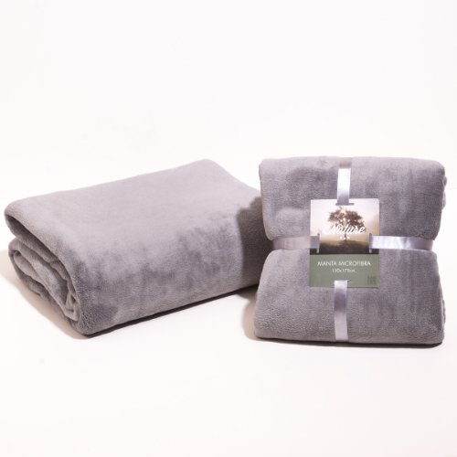 San Carlos - Manta lisa microfibra, color gris, 170 x 240 cm