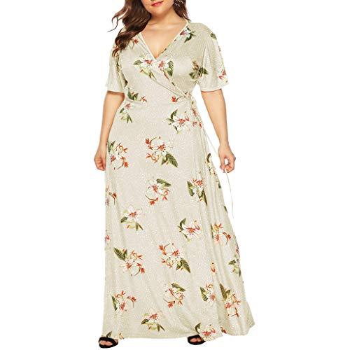 öße Maxikleid Elegant V-Ausschnitt Kurzarm Kleider mit Blumen Pailletten Abend Party Netzkleid(X4-Beige,EU-44/CN-L) ()