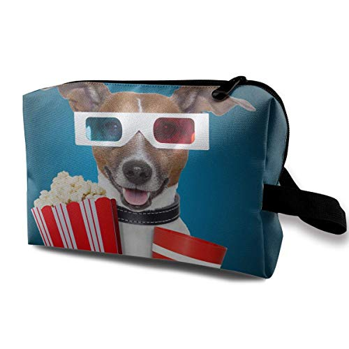 Travel Makeup Cosmetic Bag Brush Pouch Dog With Popcorn And Goggles Zipper Pen Organizer Carry Case makeup holder
