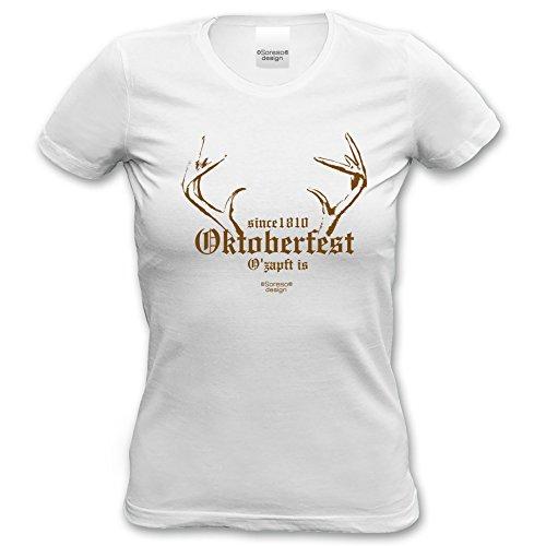 Soreso Design T-Shirt Since 1810 Oktoberfest für Frauen, Damen kurzarm, Rundhals Farbe: weiss Weiß