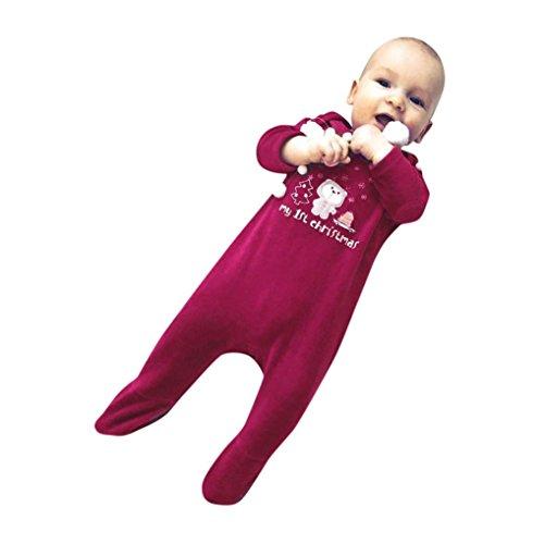 Sonnena Weihnachten Neugeborene Baby Mädchen Jungen Buchstabe Bär Strampelanzug Overall Outfit Kleidung 6-12 (Island Mädchen Für Kostüm)