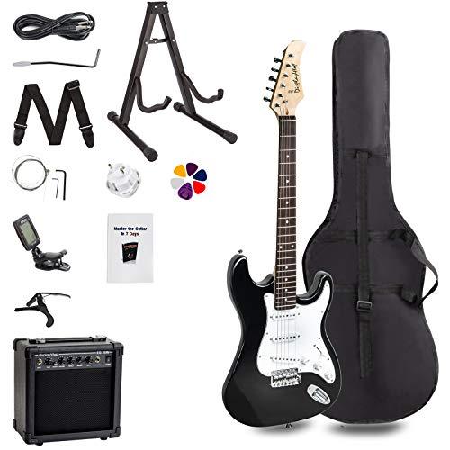 FOBUY Kit de iniciación para principiantes completo Paquete de guitarra eléctrica de tamaño completo, color negro with blanc
