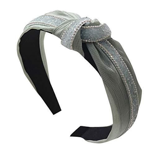 TMOTYE Damen Haarband Sommer,❀Frauen SchöNer Haarbänder Lace Mesh-Garn mit Diamant-Super-Flash-Knoten knotet breites Stirnband