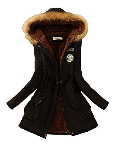 Femme Loisirs Épaissi Veste Avec Capuche Drawstring Long Chaud Manteau Noir S
