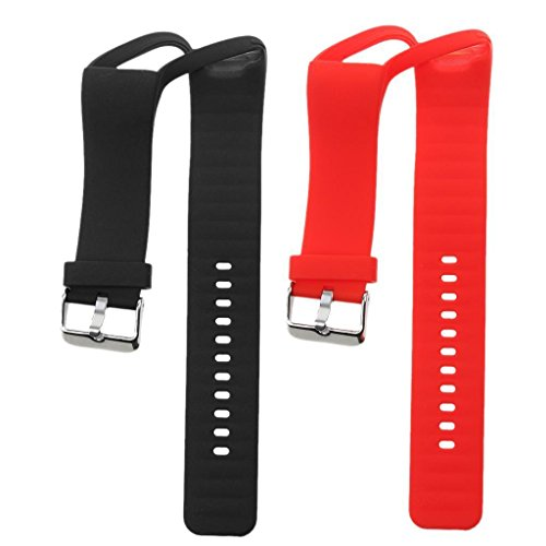 ELECTROPRIME® 2X Silicone Wristband Watch Strap Holder Buckle for Polar A360 Red + Black