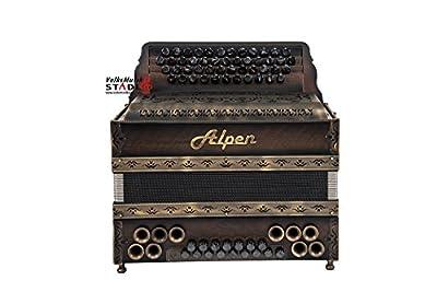 """Alpen Harmonika Modell Natur """"Nuss-Antik"""" G C F B"""