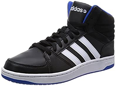 adidas neo Men's Hoops Vs Mid Core Black, Ftwr White and Blue Leather Sneakers - 8 UK