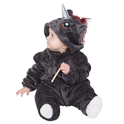 Schwarzes Einhorn Kostüm - corimori 1850 Ruby Punk-Einhorn Baby Kleinkind Onesie Jumpsuit Strampler Anzug Kostüm Verkleidung (70-90 cm), Schwarz