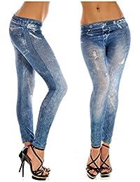Leggins de falsa impresión elástico de los pantalones vaqueros del dril de algodón de las mujeres BlueWhite F