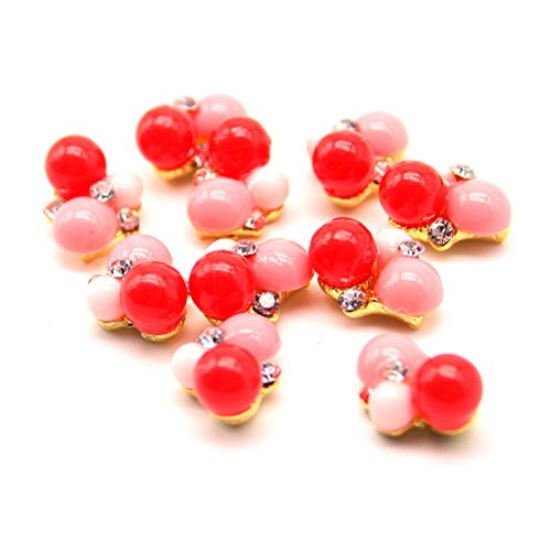 10 pcs Decoration Cristal Nail Art Manucure 1,4*0,9cm Rouge/Rose