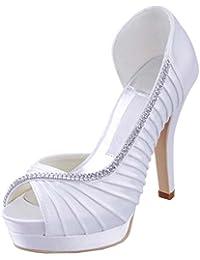 Kevin Fashion Ladies mz542plisado satén novia Prom de boda sandalias