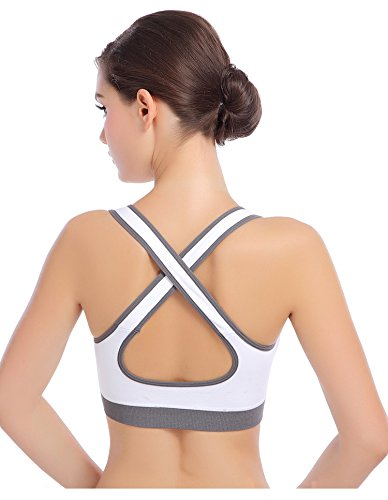 ISASSY-Reggiseno da donna, per Yoga, Sport, Fitness, corsa, Jogging, Crop Top-Canotta Racer da aerobica Dance Bianco