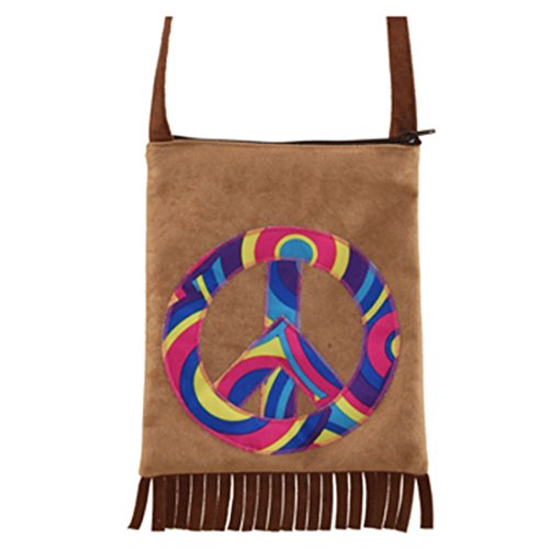 70er Jahre Damentasche Flower Power Handtasche Peace Fransentasche Hippie Tasche Karneval Kostüme Damen 60er Jahre Mottoparty Accessoires Friedenszeichen (Jahre 70er Ära Kostüme)