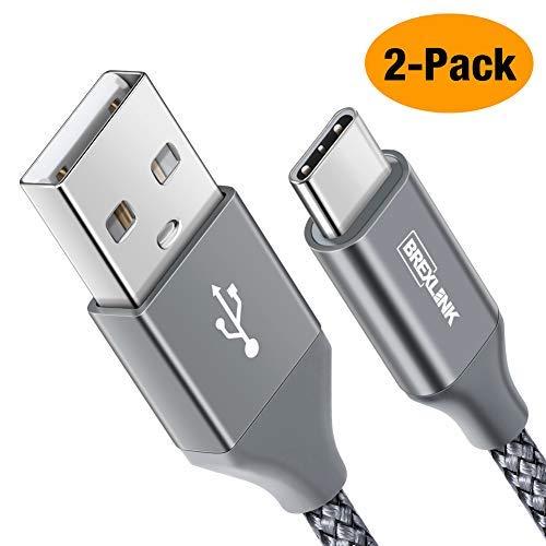 USB C Kabel, BrexLink Nylon USB Type C Ladekabel [2 Stück 2 M] für Samsung Galaxy S9 S8 Plus/Note 9 8, Moto Z, LG G5 G6 V30, Huawei P9/P10/Mate9 10, Sony Xperia XZ, HTC 10/U11, Lumia 950 XL(Greu)