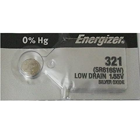 Energizer 321 (SR616SW) Silver Oxide Button Cell 15mAh Capacity Low Drain Watch Battery