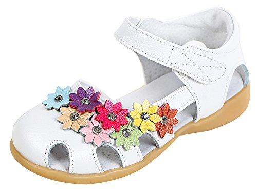EOZY Bas Chaussures Princesse Été Bébé Fille Enfant Fleur Soft-Soled Sandales Souple Shoes Blanc