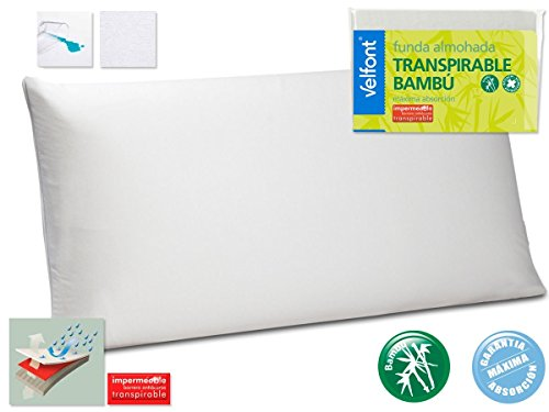 Velfont Funda almohada BAMBU impermeable transpirable hipoalergenica tratamiento aloevera y bambu TODAS...
