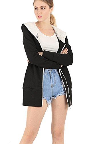 Zipper occasionnels femmes ouvrir côté laine capuche manteau Black