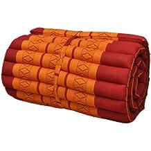 Rool up Thai colchón S (55cm larg), alfombra, extra, relajación, descanso, gimnasio, Meditación, yoga, playa, piscina, jardín, fabricado en Tailandia, rojo/naranja (81013)