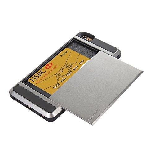 BING Für IPhone 6 / 6S Blade PC + TPU Kombi-Gehäuse mit Kartensteckplatz BING ( Color : Red ) Grey