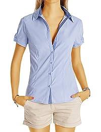 Bestyledberlin Damen Basic Blusen, Taillierte Kurzarm Damenbluse, Elegante Stretch Hemden V-Ausschnitt t45z