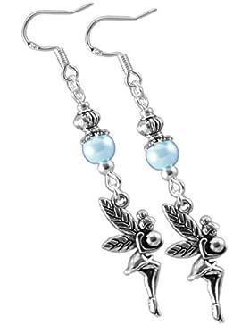Katharina Fairytale Damen Ohrringe der Lichtfee blaue Perle Ohrhaken aus 925er Sterling Silber