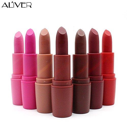 Aliver Lápices de labios mate Perfecto verano impermeable lápiz labial de larga duración Maquillaje labios de brillo 7 colors/set