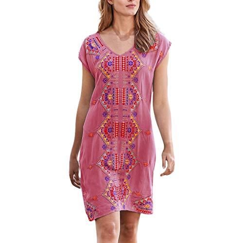 YBWZH Mini Robe Vintage sans Manches Vintage pour Femme à La Mode à Manches Courtes Vintage Robe Simple sans Manches Vintage pour Femme(Rouge,EU:44/CN:XL)