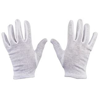 12 Pairs Size 9 100% Cotton White Gloves Health Music Canvas Beauty Work Liner by All Trade Direct