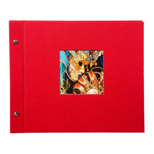 Goldbuch Schraubalbum mit Fensterausschnitt, Bella Vista, 30 x 25 cm, 40 schwarze Seiten mit Pergamin-Trennblättern, Erweiterbar, Leinen, Rot, 26984