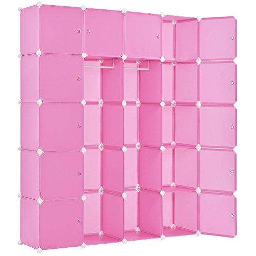 Juskys DIY Regalsystem Garderobenschrank Kleiderschrank aus 20 variablen Boxen in Pink
