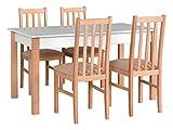 Mirjan24 Esstisch mit 4 Stühlen DM02, Esstisch Stuhlset, Tischgruppe, Esstischgruppe, Sitzgruppe, Esszimmergarnitur, Esszimmer Set, DMXZ (Weiß Naturbuche/Naturbuche Etna 22)