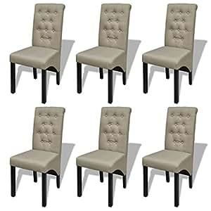 vidaXL Lot de 6 chaises salle à manger salon beige antique